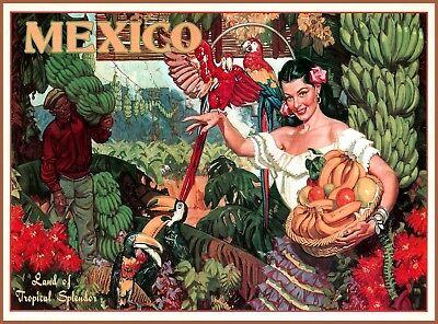 Mexico Land of Tropical Splendor Vintage Travel Advertisement Art Poster Print
