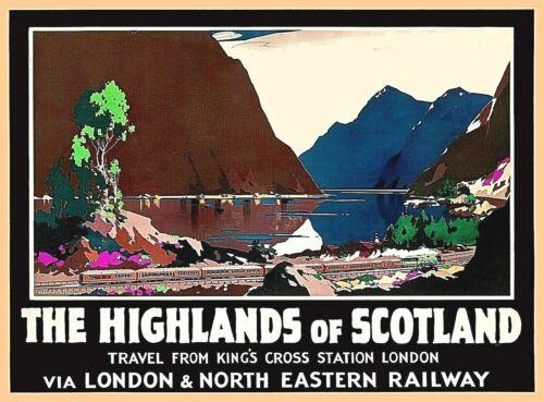 The Highlands of Scotland Great Britain Vintage Railways Travel Art Poster Print
