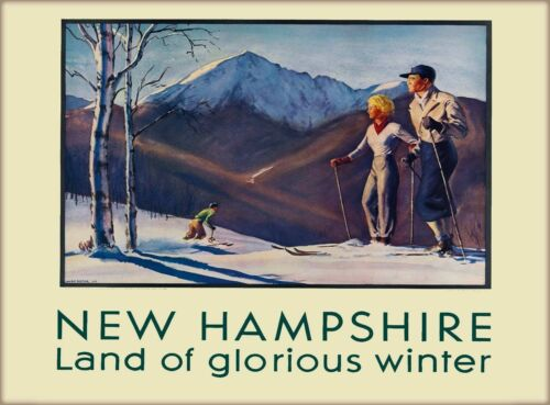 New Hampshire Land of Glorious Winter Vintage Travel Advertisement Art Print