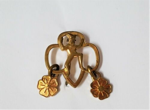 Vintage BROWNIE SCOUT Pin with 2 Flower Membership Charms