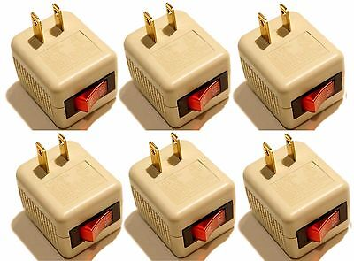 6 Pk x Single Outlet Wall Tap Adapter With Lighted Switch Power On/Off Control