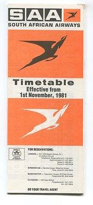 SOUTH AFRICAN AIRWAYS SAA TIMETABLE NOVEMBER 1981 SAL