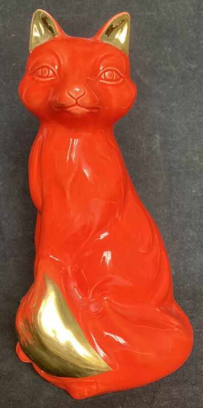 "Vintage Large Ceramic Fox Bank, 10""Ceramic Red Fox Piggy Bank"