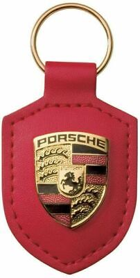 Porsche Crest Keyring Key Chain Leather Red New