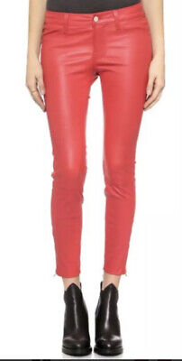 $950 J Brand 28x26 Capri Coral Leather Pant Legging Skinny Red Natasha Maria Mid