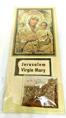 Holy Land Jerusalem Cross Olive Wood Necklace & Holy Earth Treasure Relics bag