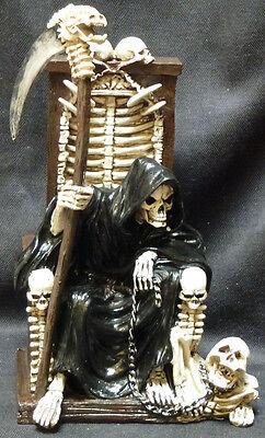 "DARK MASTER  Grim Reaper n Chair  statue Figure  H 10"""