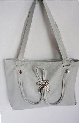 Handbag Purse Shoulder Bag Unique Silver Design Gray 2 Straps Inner Zip Pocket