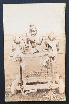 Vintage Postcard Hindu God Vishnu Wooden Processional Icon Shrine Wheels India segunda mano  Embacar hacia Spain