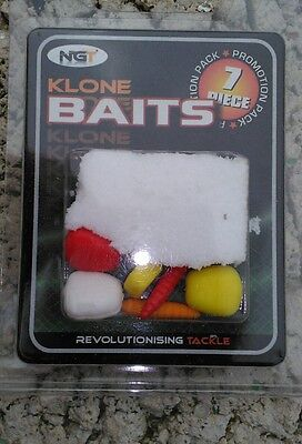 NGT Klone Artificial Baits 7pc Imitation Maggot Sweetcorn Bread Floating Sinking