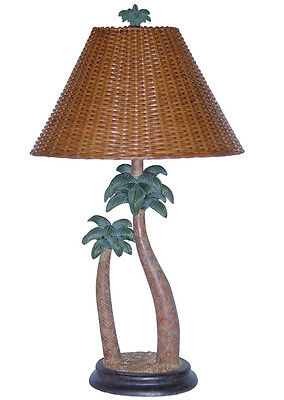 Tropical Table Lamp Palm Tree with Wicker Shade Palm Tree Lamp