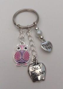 Beautiful Thank You Gift Keyring No.1 Teacher.Random Colour Owl Charm