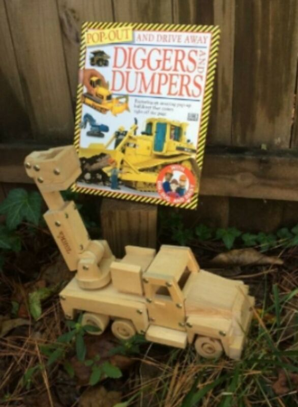 Pop Out and Drive Away Diggers and Dumpers book and Tonka cherry picker wood...