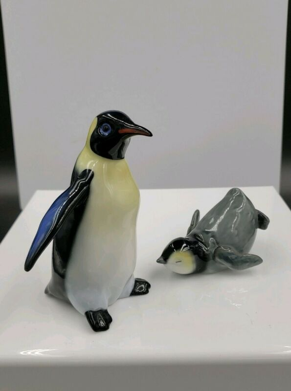 """PORCELAIN 5"""" PENGUIN & BABY FIGURINES *NICELY MADE*   39"""