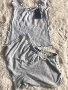 Brandy Melville heather gray lisette thermal shorts & Shoulders Off Top NWT XS/S