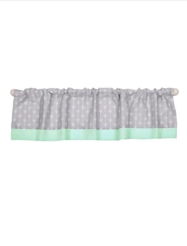 Arrow Print 2 Window Valances baby nursery decor Mint gray Green Peanut Shell