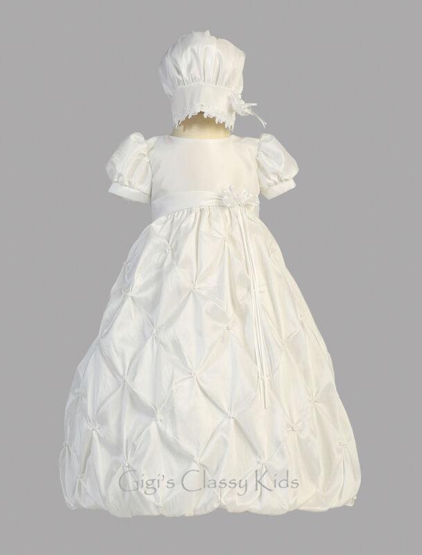 Baby Flower Girls White Taffeta Long Dress Gown Christening Baptism Bonnet New
