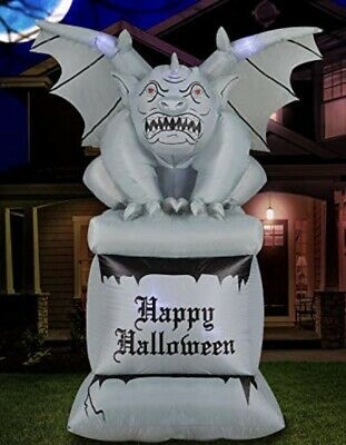 8 ft Halloween gargoyle air blown inflatable on Pillar Led Haunted house yard de