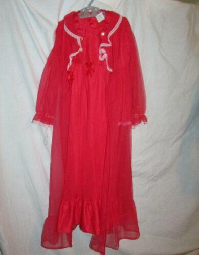 Girls Size 5 Peignoir Set Gown Robe 2-Piece Red Nylon Vintage Made in USA