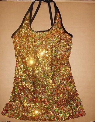 Sequin Halter Dress Top Hologram Gold Ch/ladies Blk Velve...
