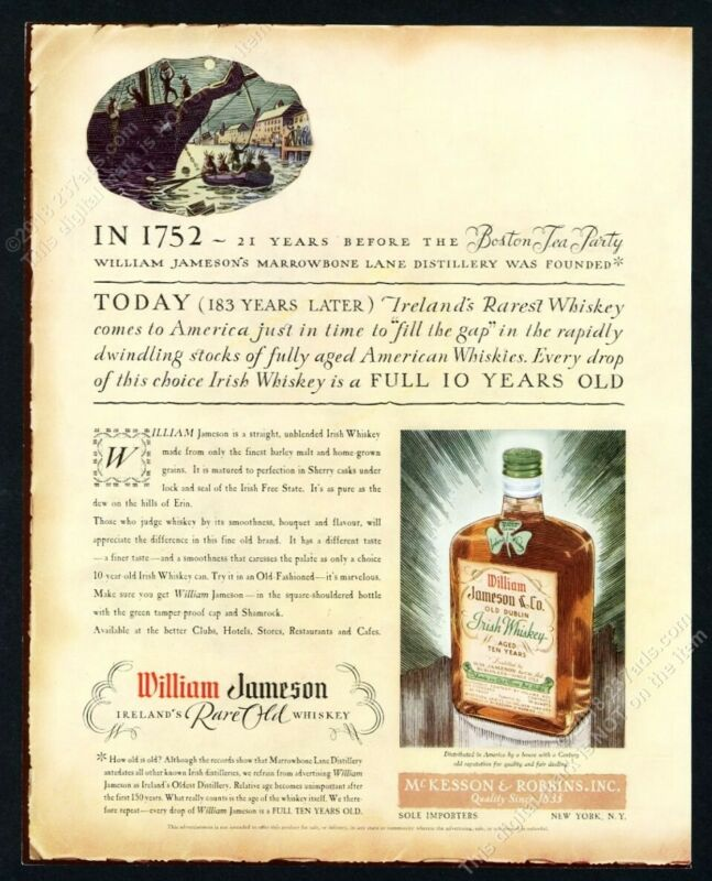 1935 William Jameson Irish Whiskey bottle art vintage print ad