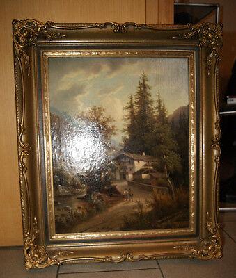 romantische Berglandschaft  um 1880   Öl-Gemälde sig. A. Müller