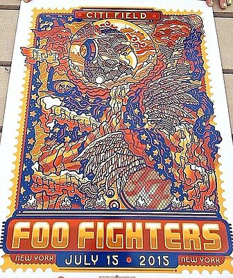 2015 FOO FIGHTERS 15 NYC EAGLE STAMP POSTER 7/15 BURWELL DOODLE AP #/10 CITI NY