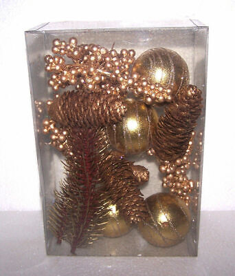 Christmas Tree Ball Ornaments Gold Mixed Set Pine Cones Holly Berry Table Decor