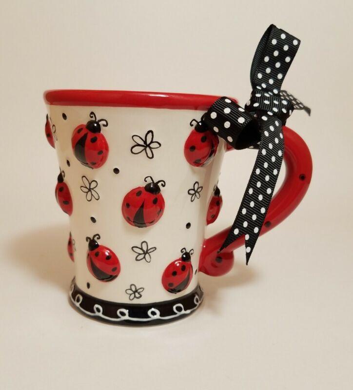 Coffee Mug Cup Hand Painted Ceramic Adorable Ladybug w/bow  Burton & Burton New