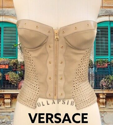 VERSACE VINTAGE LEATHER BUSTIER TOP SIZE 38
