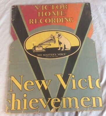 Vintage Advertising Sign Victor Home Recording RCA Phonograph Radio Nipper Dog