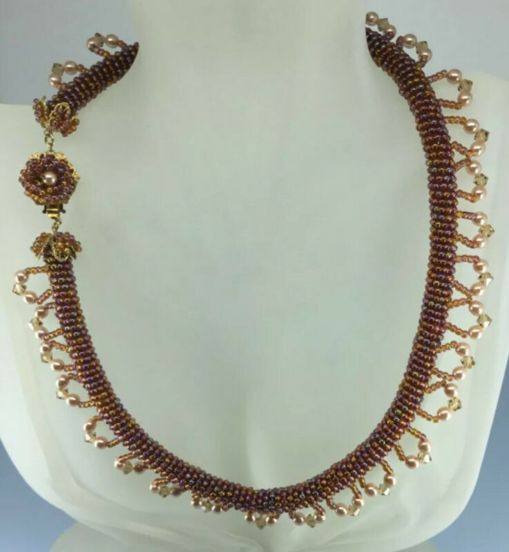 Miriam Haskell Authentic Beaded  Topaz Pearl Crystal Necklace Choker 17inch