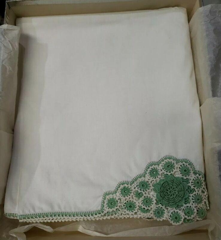 "Antique White Linen Flat Bed Sheet w/ Hand Crocheted Edge 81"" x 96"" NOS 819"