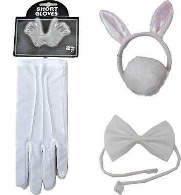 Adults Deluxe Rabbit Set Adults White Gloves Bow Tie Alice Band And Tail Set