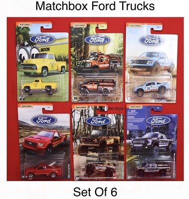 Matchbox Ford Trucks Set Of 6,Gulf Racing Raptor, 56 Mooneyes,SVT Lightning RLC - Ford Racing Trucks