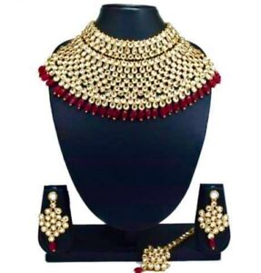 Indian bridal party wear jewellery necklace set with tikka