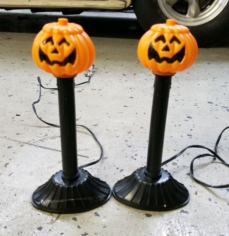 2 VTG Halloween Pumpkin Jack-O-Lantern Candolier Candle Stick Blow Molds