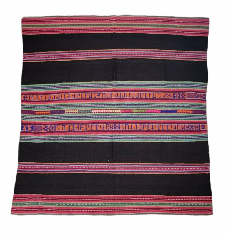 """Beautiful Antique Vintage Hand Made Woven Blanket - Native American 41""""×44"""""""