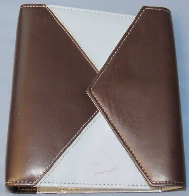 Franklin Covey Day One 1 6-ring 1 18 Brown Blue Snap Flap Open Planner