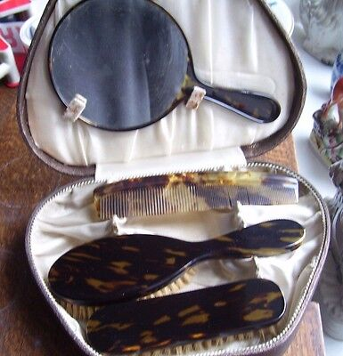 DRESSING TABLE BRUSH MIRROR AND COMB SET