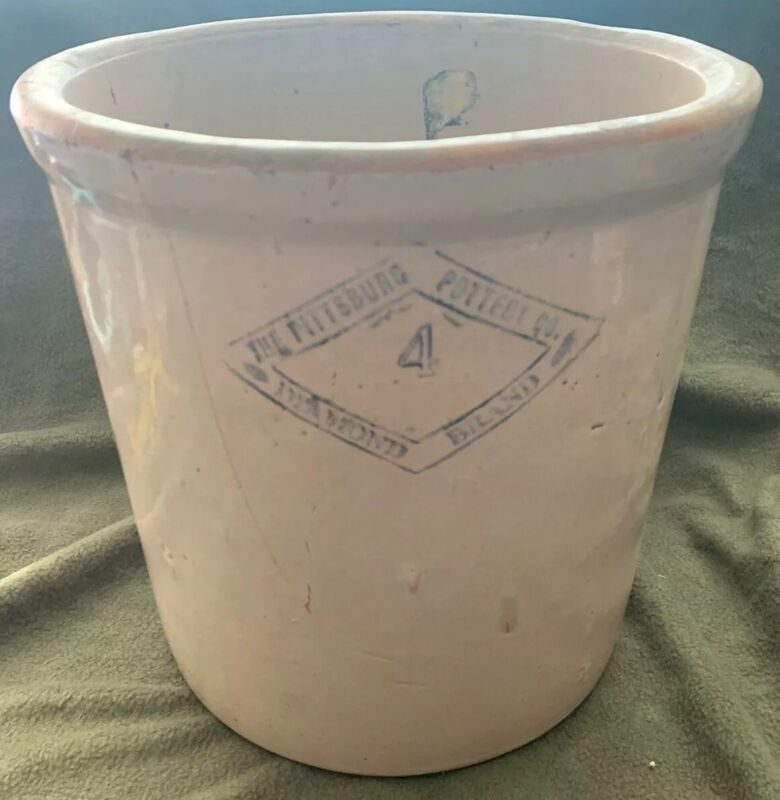 Antique Pittsburgh Pottery Co. Stoneware Crock #4