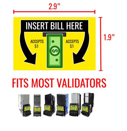 Dollar Bill Validator/Dollar Bill Acceptor Sticker - MEI Coinco ICT