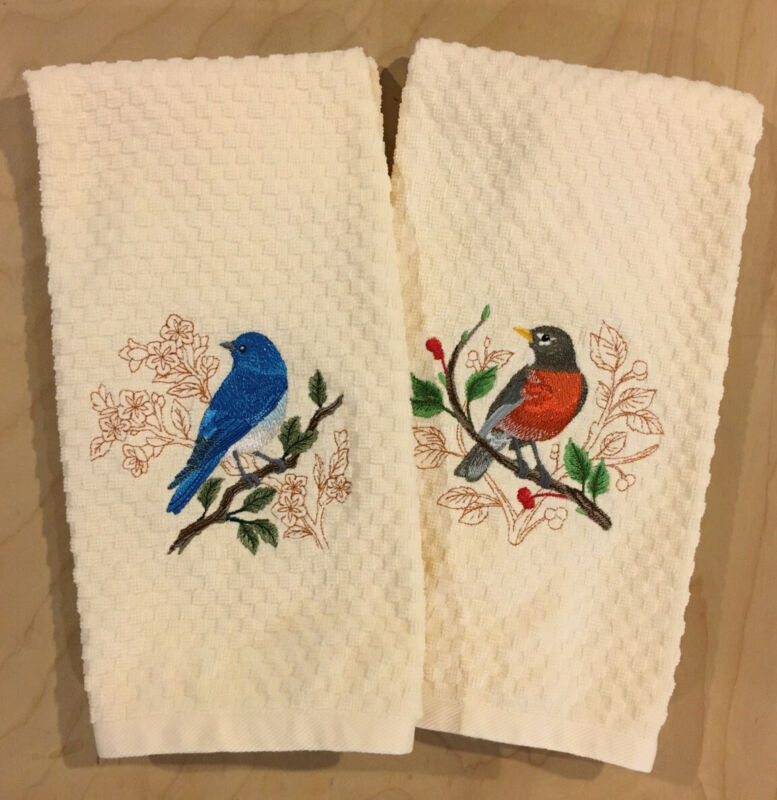 Mountain Bluebird & American Robin Embroidered Ivory Kitchen Dish Hand Towel Set