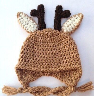 CROCHET REINDEER EAR FLAP BABY HAT knit infant toddler cap beanie photo prop USA](Reindeer Props)