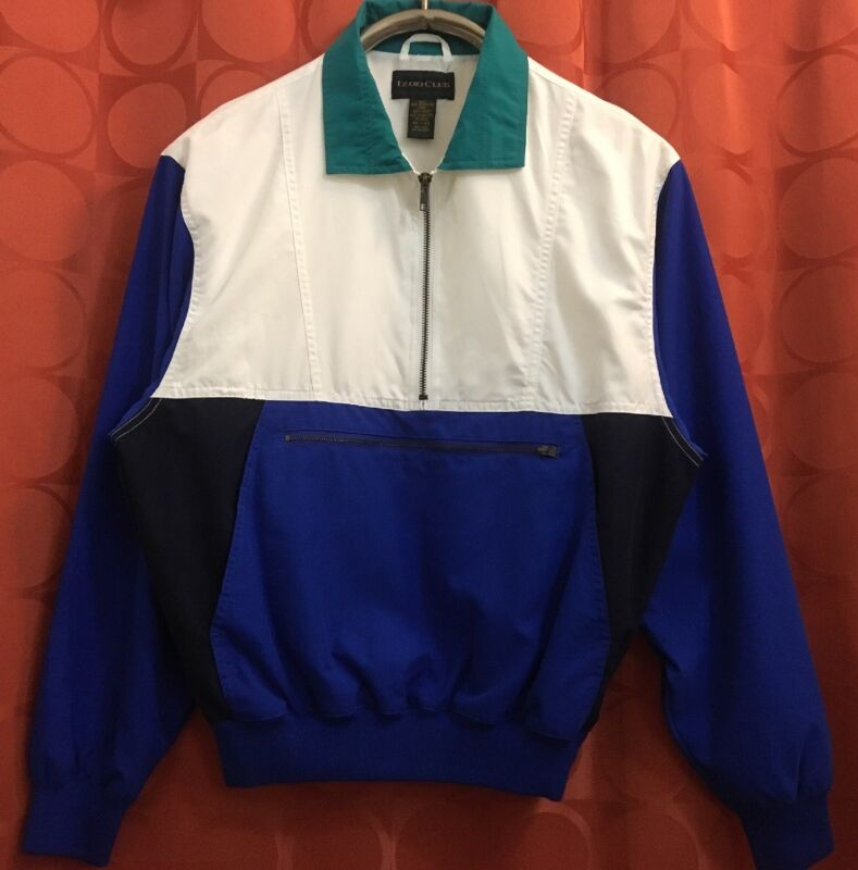 XS UNUSED Vintage 1980s IZOD TENNIS Pullover Warm-Up TEAL GREEN Royal NAVY Blue