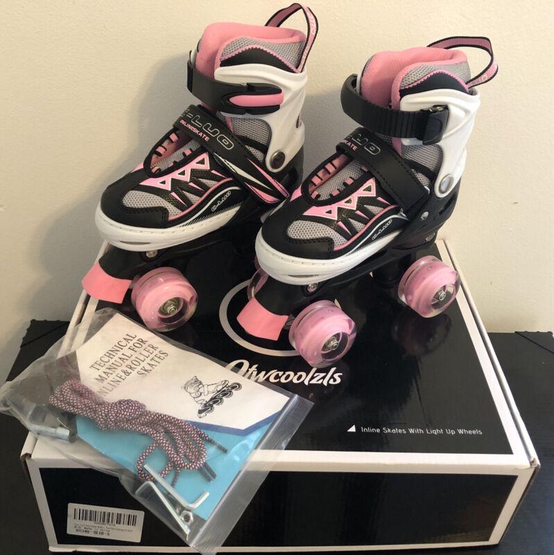 Otw-Cool Adjustable Roller Skates for Girls, Pink, Small