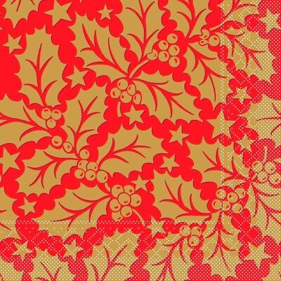 4 Single Lunch Paper Napkins for Decoupage Craft Napkin Christmas Gold Leaves