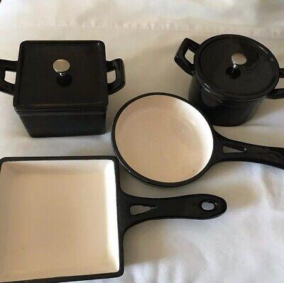 Technique Cookware Lot Black Enamel Clad Cast Iron Small Size