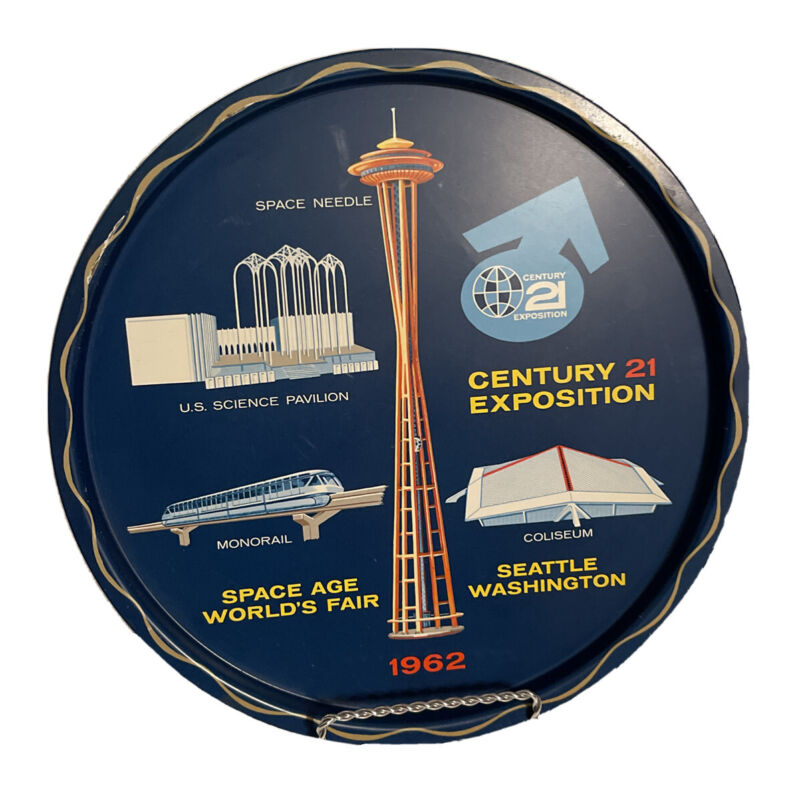 Vintage 1962 Seattle Century 21 Expo Space Age World's Fair Souvenir Metal Tray