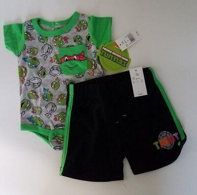 Baby Boys Teenage Mutant Ninja Turtles Bodysuit & Shorts Set - Green 0-3 M - Baby Ninja